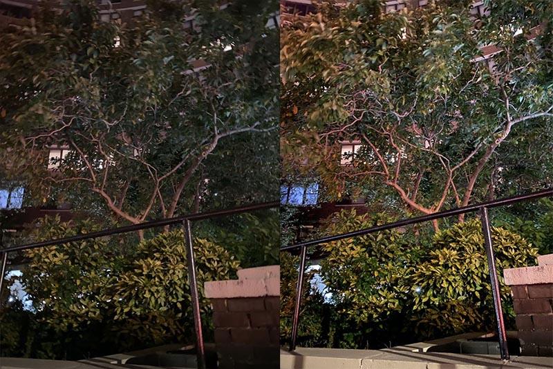Ảnh chụp ở chế độ tự động (bên trái) và ảnh chụp ở chế độ chụp đêm (bên phải).