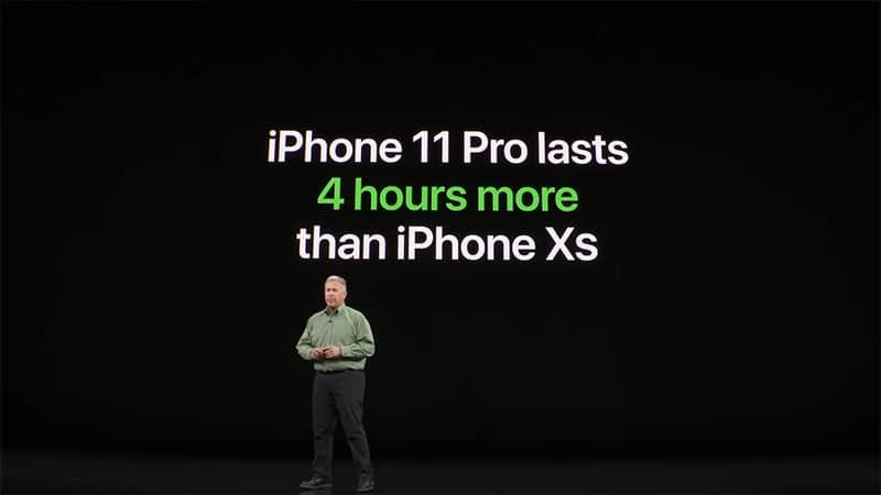 Chiếc máy có thời lượng pin dài hơn đến 4 giờ đồng hồ so với chiếc iPhone Xs.