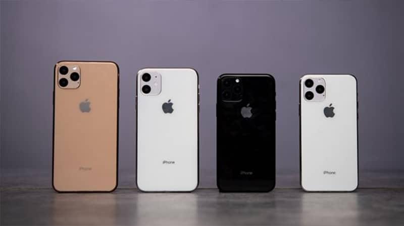 Từ trái qua: iPhone 11 Pro Max, iPhone 11, iPhone 11 Pro màu Đen và iPhone 11 Pro màu Trắng.