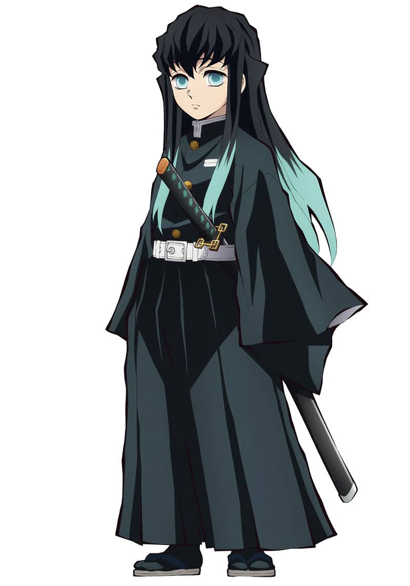 Muichirou mặc bộ đồng phục Thợ Săn Quỷ tiêu chuẩn cỡ lớn.