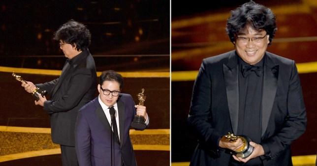 Bong Joon Ho mìm cười khi cầm bức tượng vàng trên tay trên sân khấu lễ trao giải Oscar 2020.