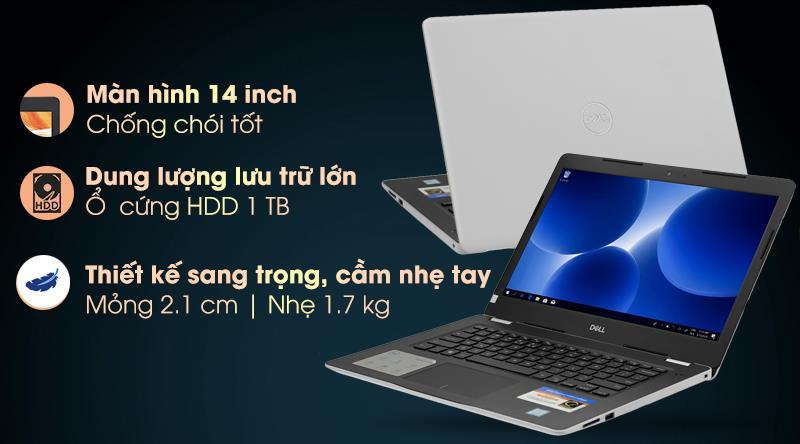 Laptop Dell Inspiron 3480 sở hữu thiết kế đơn giản