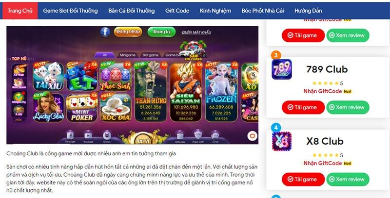 Cổng game Choáng club – Chơi bài đổi tiền thật uy tín