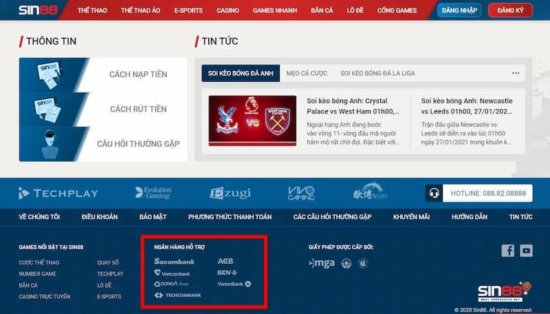 Liên kết với nhiều ngân hàng tại Việt Nam